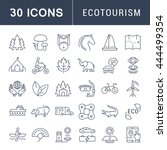 set vector line icons in flat... | Shutterstock .eps vector #444499354