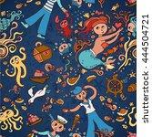 underwater seamless pattern of...   Shutterstock .eps vector #444504721