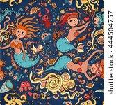 underwater  seamless pattern of ... | Shutterstock .eps vector #444504757