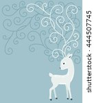 deer with curl horns on blue... | Shutterstock .eps vector #444507745