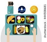 food on flight  dinner on... | Shutterstock .eps vector #444508681