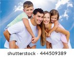 happy family on sky background. | Shutterstock . vector #444509389