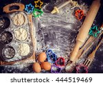 baking concept on dark... | Shutterstock . vector #444519469
