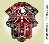 hamsa hand. hand of fatima ... | Shutterstock .eps vector #444523609