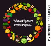 vegetable circle background.... | Shutterstock .eps vector #444525694