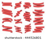 ribbon vector icon set red... | Shutterstock .eps vector #444526801