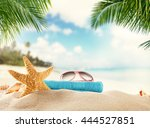 summer accessories on sandy... | Shutterstock . vector #444527851