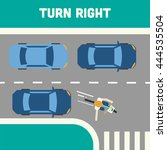 cyclist making the right turn... | Shutterstock .eps vector #444535504