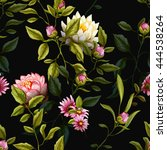 tropic leaves with peony and... | Shutterstock .eps vector #444538264