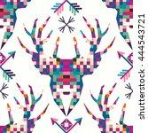 animal head deer triangular... | Shutterstock .eps vector #444543721