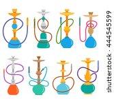hookah set . hookahs icons of... | Shutterstock .eps vector #444545599
