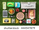 summertime picnic on the grass... | Shutterstock . vector #444547879