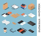 isometric stationery vector set.... | Shutterstock .eps vector #444549004