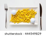 white ceramic dishes with golf...   Shutterstock . vector #444549829