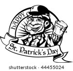 black and white leprechaun with ... | Shutterstock .eps vector #44455024