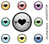 heart with arrow icon glass... | Shutterstock . vector #444555739