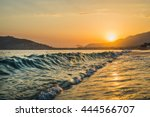 sunset at the beach in alanya ... | Shutterstock . vector #444566707