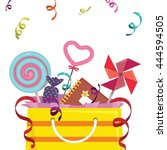 party favor goodie bag with... | Shutterstock .eps vector #444594505