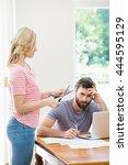 woman cutting a credit card... | Shutterstock . vector #444595129