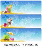 sea beach travel banner set... | Shutterstock .eps vector #444605845