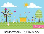 spring background with rabbits... | Shutterstock . vector #444609229