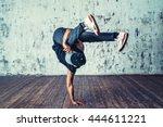 young man break dancing on wall ...   Shutterstock . vector #444611221