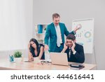 angry frustrated boss screaming ...   Shutterstock . vector #444616441