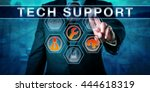 corporate customer is pushing... | Shutterstock . vector #444618319