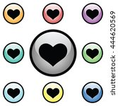 heart icon glass button icon set | Shutterstock .eps vector #444620569