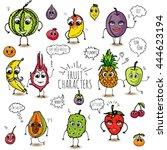 funny hand drawn fruit... | Shutterstock .eps vector #444623194