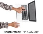 close up young asian man hands...   Shutterstock . vector #444632209