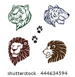 tigers and lions  silhouette... | Shutterstock .eps vector #444634594