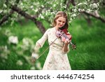young beautiful girl in a white ... | Shutterstock . vector #444674254