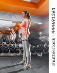 sportswoman lifting hard...   Shutterstock . vector #444691261
