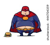 superhero  fat man with burger  ... | Shutterstock .eps vector #444704359