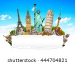 famous monuments of the world... | Shutterstock . vector #444704821