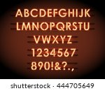 neon vector letters and numbers.... | Shutterstock .eps vector #444705649
