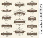 vector set of ornate... | Shutterstock .eps vector #444705799