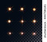 set of golden glowing lights... | Shutterstock .eps vector #444708181