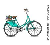 vintage bicycle vector... | Shutterstock .eps vector #444708421