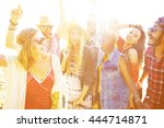 teenagers friends beach party... | Shutterstock . vector #444714871