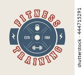 gym logo  badge  label  mark in ... | Shutterstock .eps vector #444715291