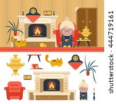 vector set of house living room ... | Shutterstock .eps vector #444719161