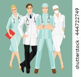 group of professional medical... | Shutterstock .eps vector #444722749