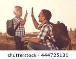father and son playing in the... | Shutterstock . vector #444725131