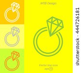 web line icon. diamond ring.   Shutterstock .eps vector #444726181