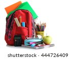 red school backpack with school ... | Shutterstock . vector #444726409