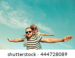 kid with jet pack pretend to be ... | Shutterstock . vector #444728089