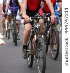 fast cyclists pedal quickly... | Shutterstock . vector #444747211