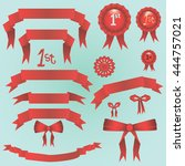 big red ribbons set vector... | Shutterstock .eps vector #444757021
